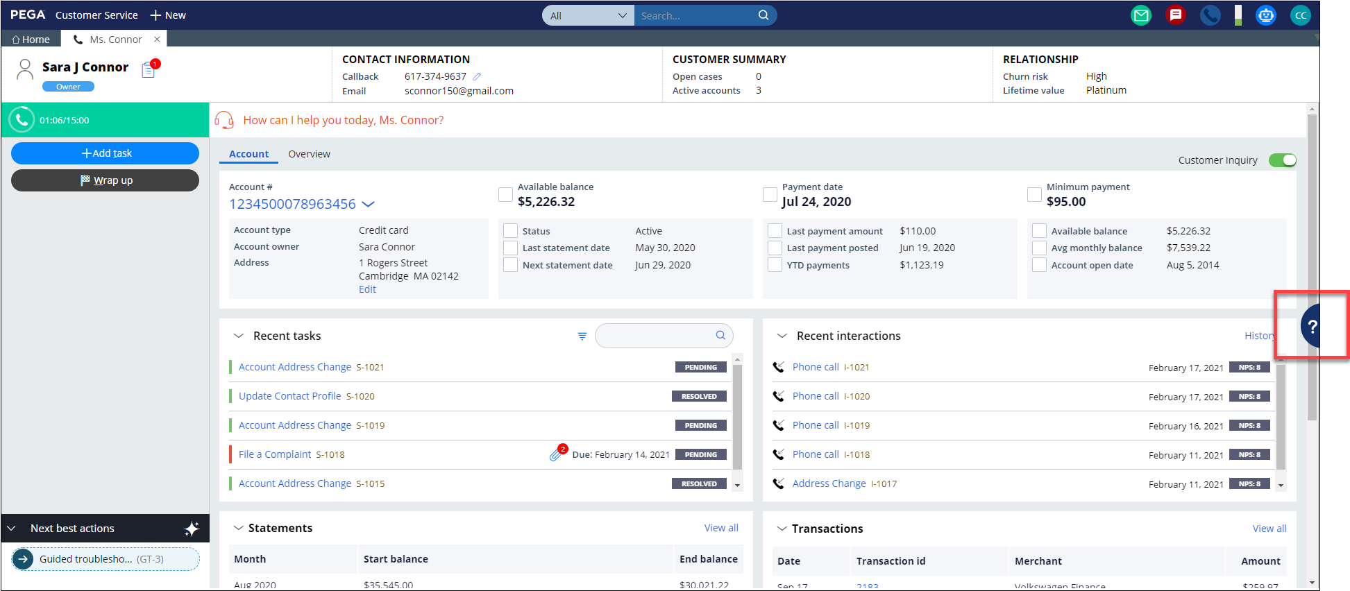 Part of the Interaction portal that shows the Knowledge Management                         pane