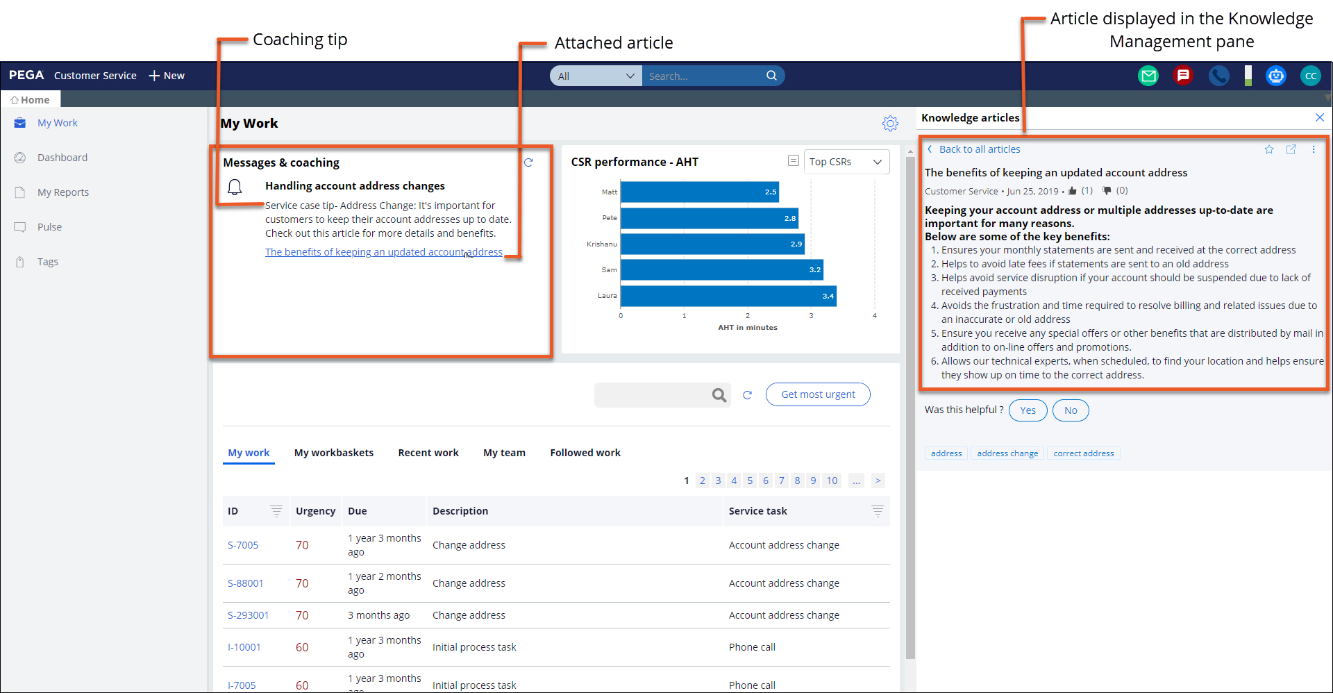 Content of article associated with coaching tip is displayed in the                     Knowledge Management pane