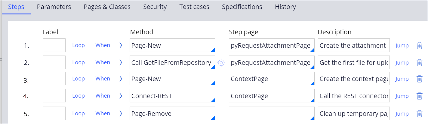 Sample of the UploadPaymentRequest activity configuration