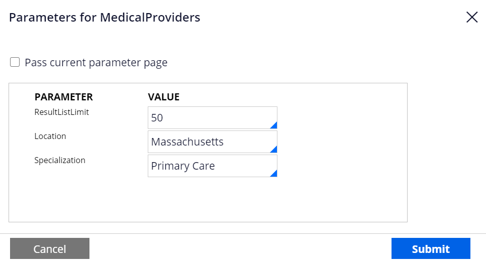 Parameters for a connector that retrieves list of medical                             providers