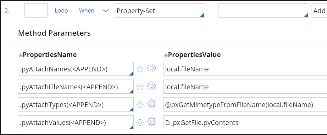 Sample of configuring properties in the GetFileFromRepository                         activity.