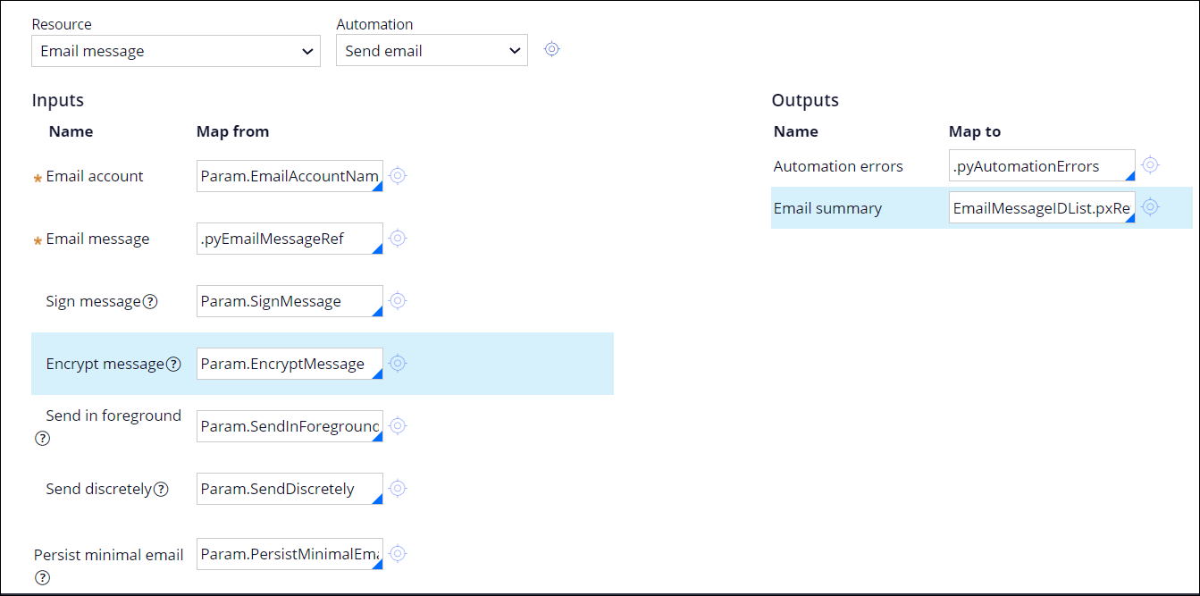 Parameters for the SendEmail automation inputs and outputs