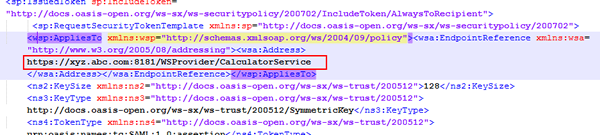 Example of adding the endpoint URL to the                                         <wsp:AppliesTo> child element