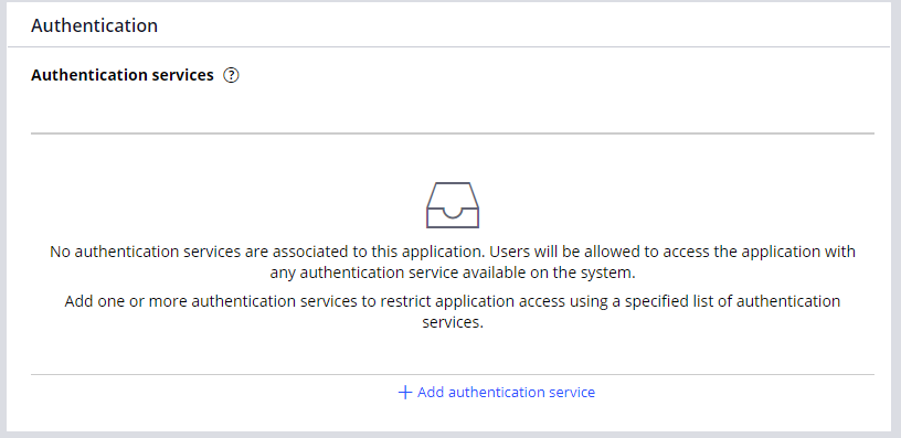 The authentication services section of the Security tab of the Application                         definition