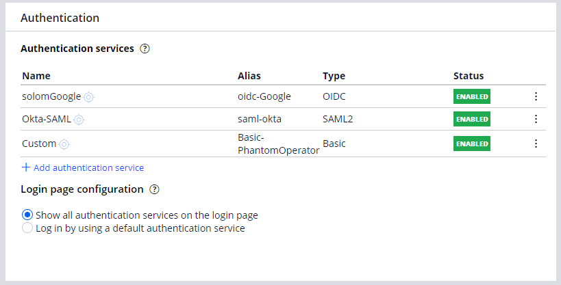 A populated authentication services section of the Security tab of the                         Application definition