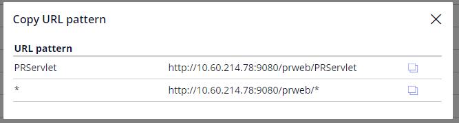 The copy URL pattern dialog box in servlet management