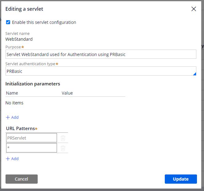 The editing a servlet dialog box in Servlet Management