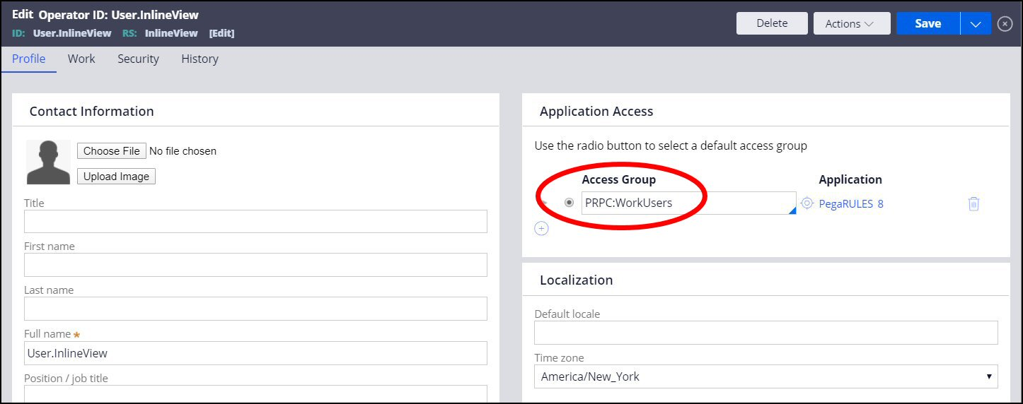 In the application access section, the access roup has the operator                             ID
