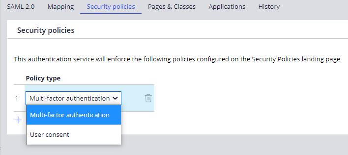 An image of the UI which displays the Policy type drop down options:                         Multi-factor authenticaiton or user consent