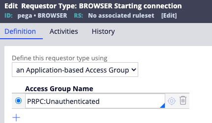 The access group is specified in the Definition tab of                                             the browser requestor type.