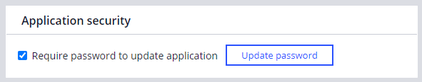 The application security section of the Security tab of the Application                         definition