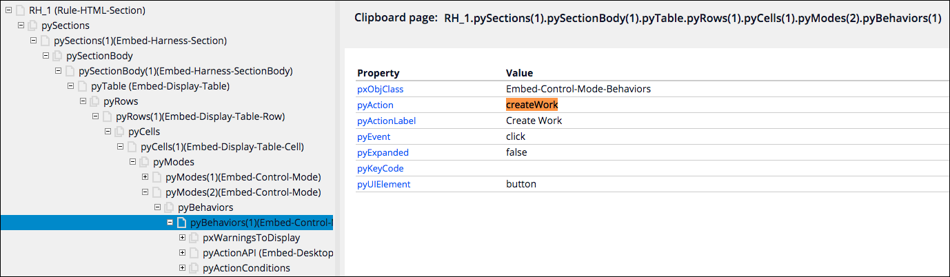 The clipboard with the pyAction name highlighted