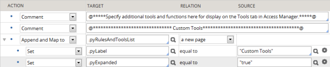 The expanded top-level section for custom tools