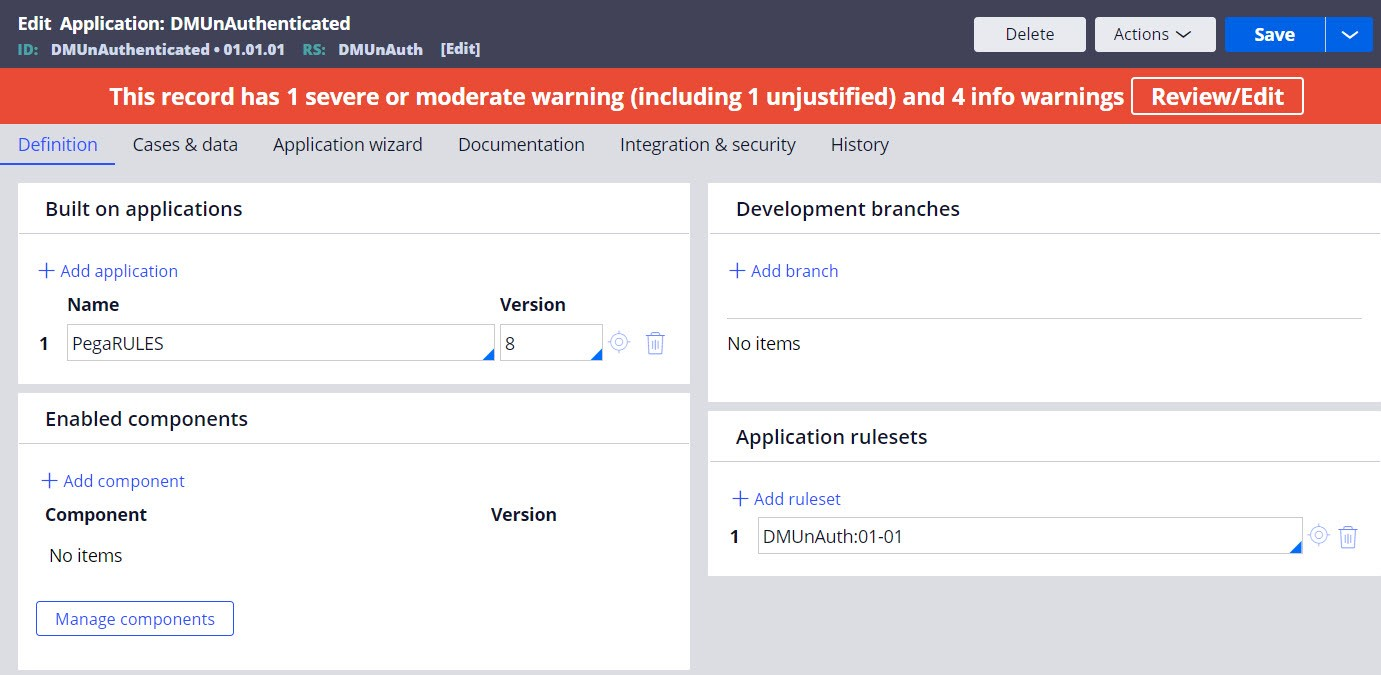 Adding an application ruleset to the application stack.