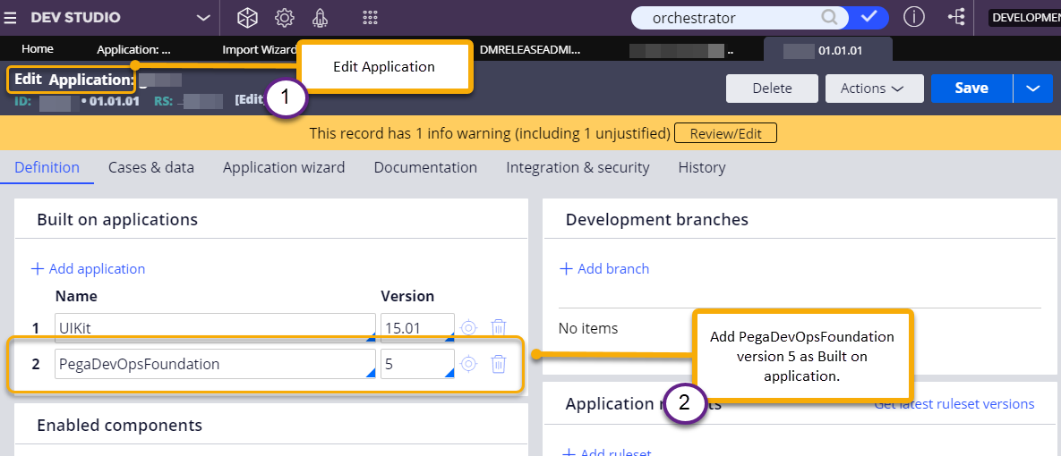 Update the application record to add built-on application.