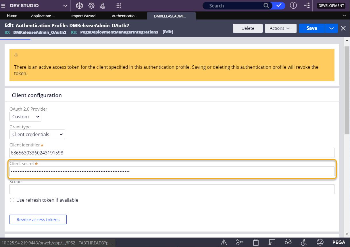 Update client secret on the DMReleaseAdmin_OAuth2                                     authentication profile.