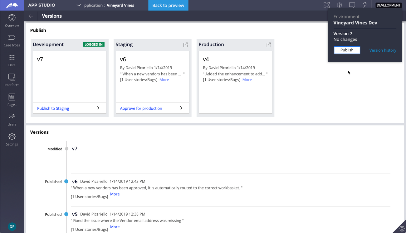 Integration with App Studio and Dev studio allows citizen developers                             and system architects to utilize Deployment Manager's pipeline                             capabilities from within their existing workflows.