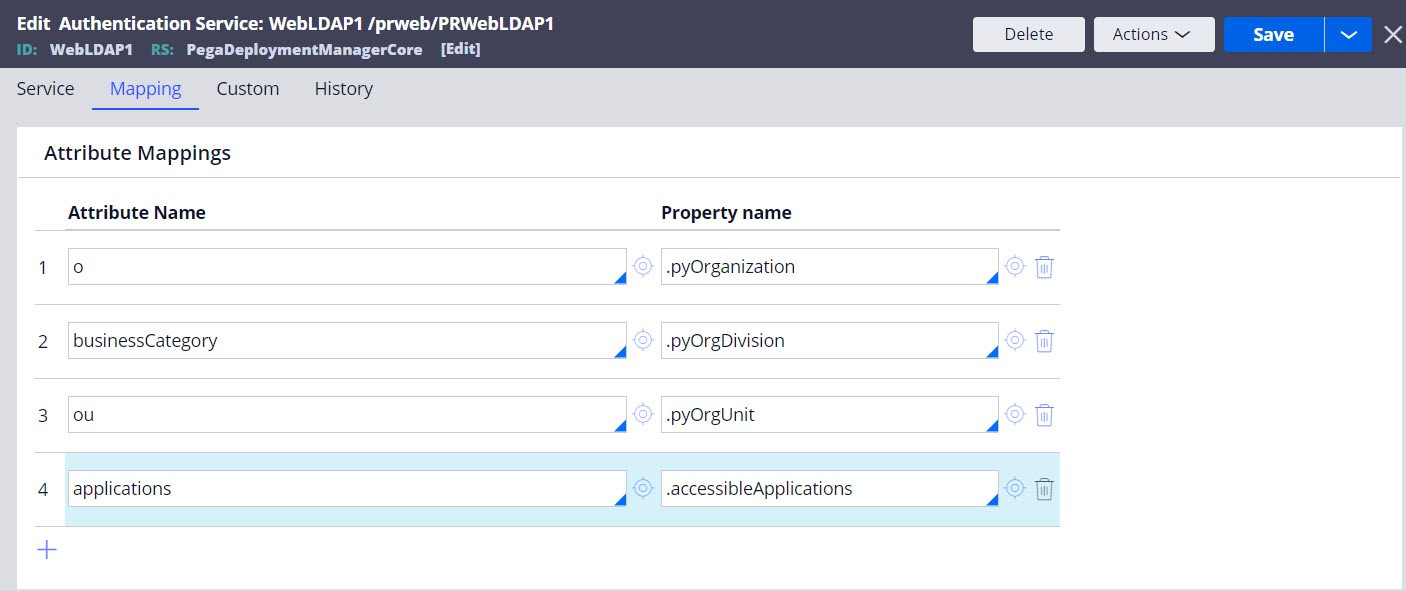 Mapping LDAP attributes to the accessibleApplications                                 property.