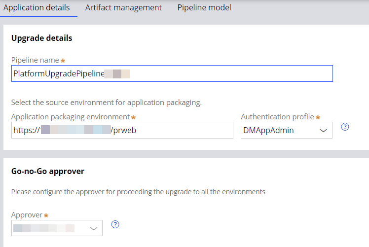 Application details overview for upgrade pipelines.