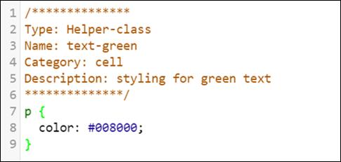 Code block representing a sample helper class.