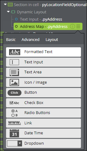 The tabs contain UI components that you can add to your interface.