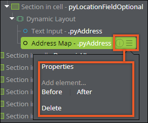 The menu contains actions that you can use to edit the interface.