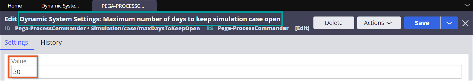 Editing a Dev Studio ruleset to change the default value for automatically                   resolving simulation flows.