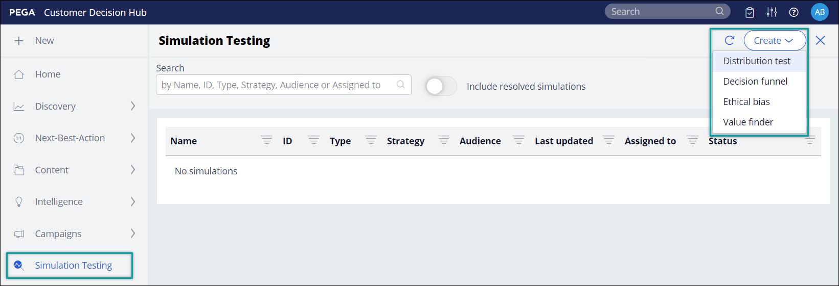 The available test types under the Create button on the Simulation Testing                 landing page