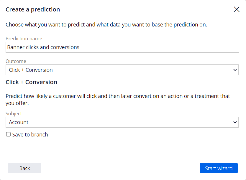 The click and conversion template is selected as the prediction                                 outcome