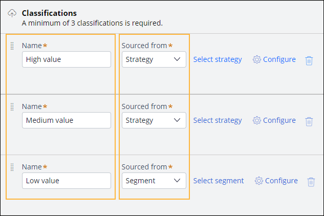 A screenshot showing an example of how to configure customer classifications                     in retail banking