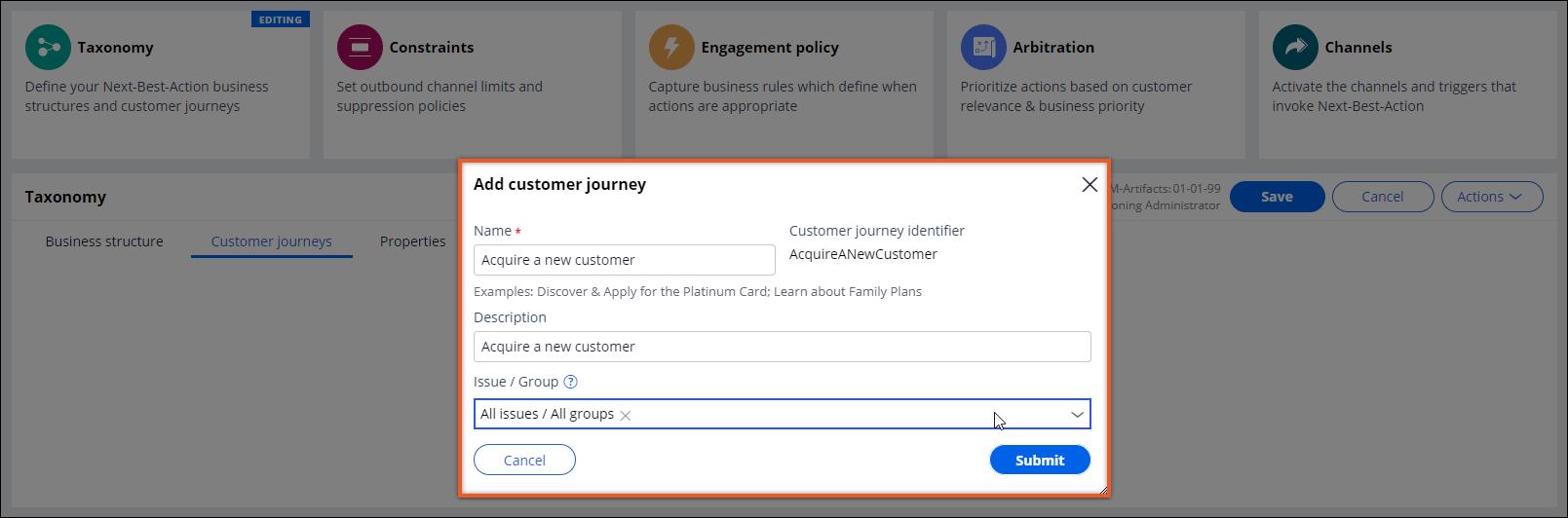 Adding a new customer journey
