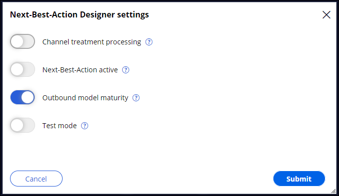 Outbound model maturity enabled in Next-Best-Action Designer