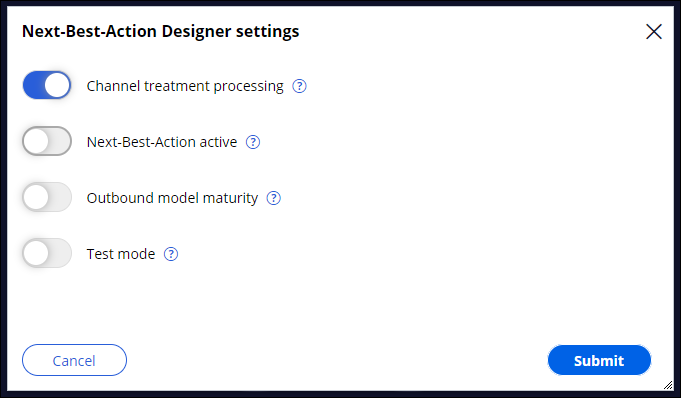Channel treatment processing enabled in Next-Best-Action                                 Designer