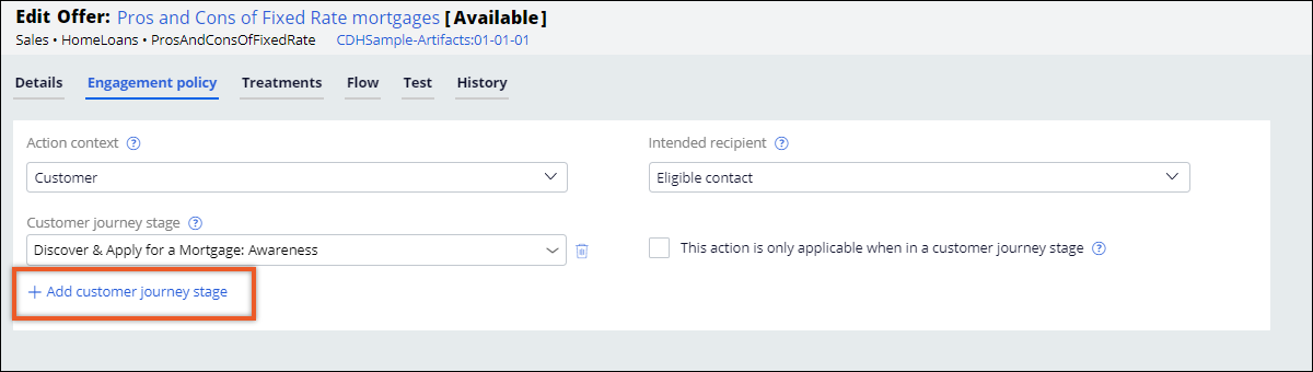 Adding actions to the customer journey stage
