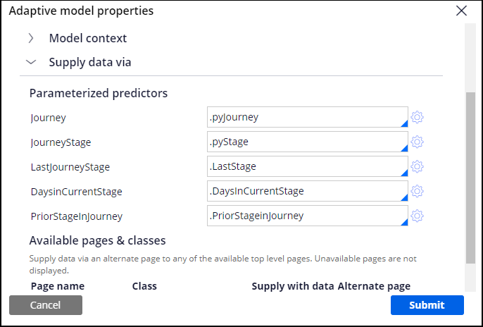 Adding properties to an adaptive model