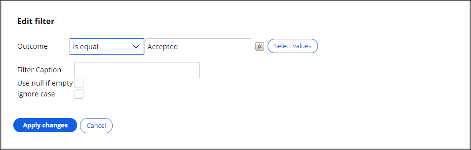 Selecting only accepted actions