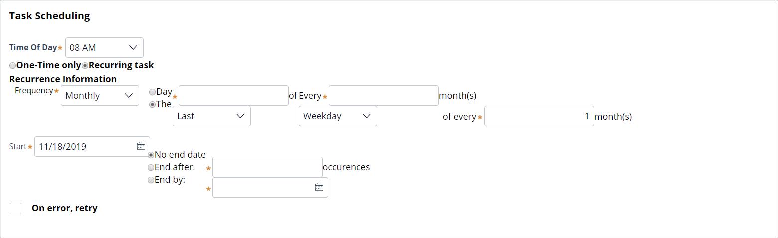 Sample report schedule