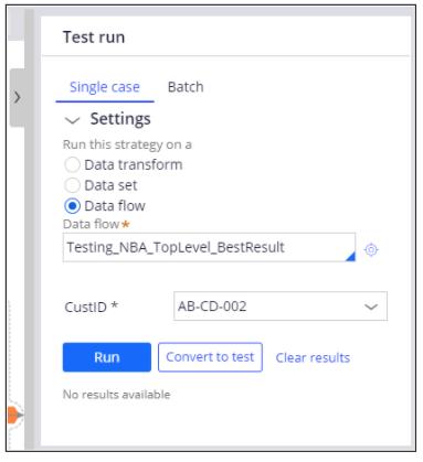 Sample test data flow run for a customer