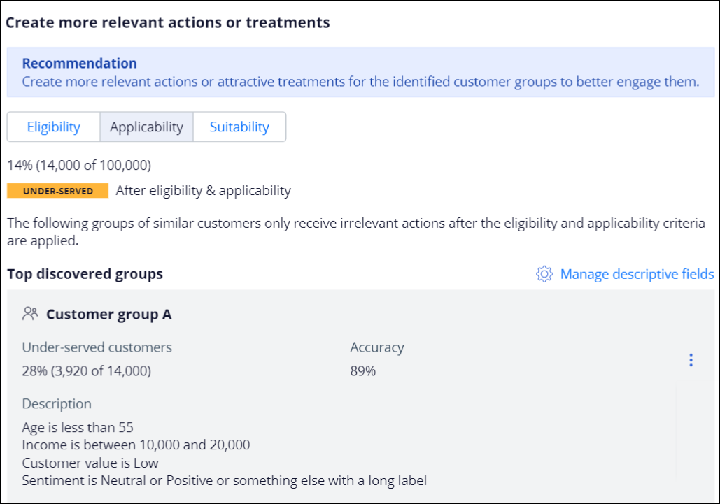 The Create more relevant actions or treatments section showing                                 customer group A discovered by Value Finder. Description includes                                 age, income, value, and sentiment.