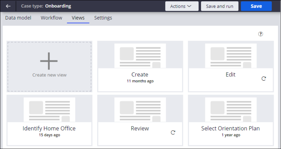 The Views tab showing relevant records configured for the application