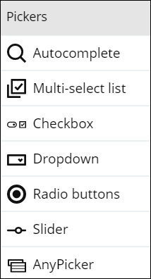 Sample available picker controls, such as autocomplete, checkbox or                             dropdown