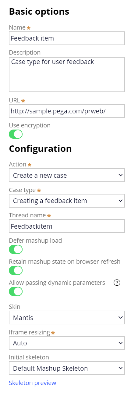 New Web mashup interface form with the required setup for                                         the Creating a feedback item case type