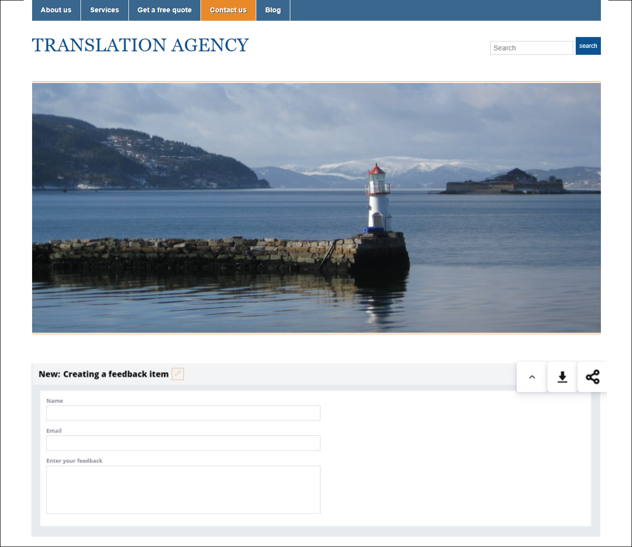 An external page with the embedded feedback item mashup
