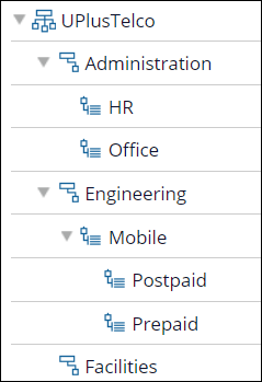 A sample organizational chart that shows an organization with divisions,                         units, and sub-units