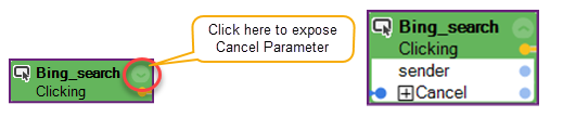 The location of where to expose the Cancel parameter