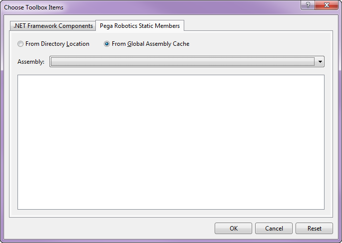 The Pega Robotics Static Members tab on the Choose Toolbox Items dialog
