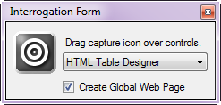 HTML Table Designer selected as the interrogation option