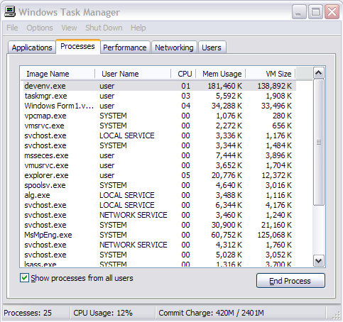 Windows Task Manager window