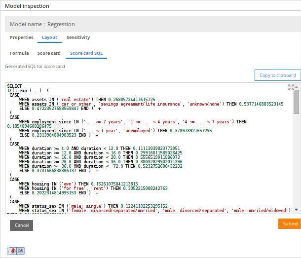 A sample SQL query for a scorecard