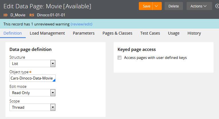 Edit data page - Movie